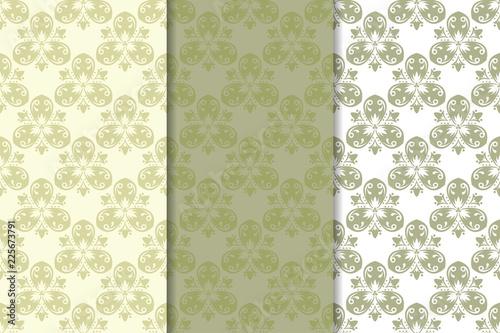 Fototapeta Set of pale olive green floral backgrounds. Seamless patterns obraz na płótnie
