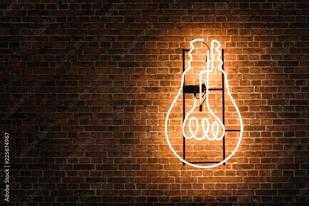 Fototapety, obrazy: Lightbulb neon on the empty brick wall with copy space