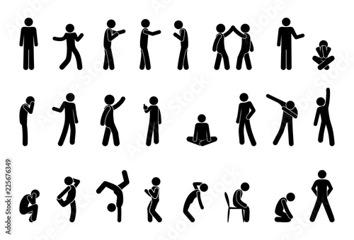 Obraz stick figure people pictogram, set of human silhouettes, man icon, various poses, gestures and movements - fototapety do salonu