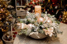 Beautiful Christmas Table Decorative Composition In Vase