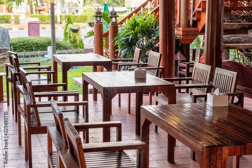 Fototapeta Wooden set table and chair in restaurant obraz na płótnie