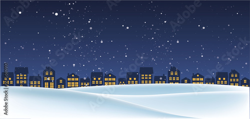 Foto op Aluminium Nachtblauw Christmas night landscape with houses. Winter background. For design flyer, banner, poster, invitation