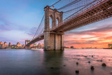 Fototapeta Nowy York - Brooklyn Bridge New York City at Dusk