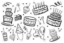 Set Of Stylized Birthday Eleme...