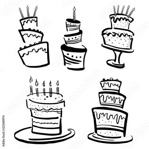 Set Of Stylized Birthday Cakes Hand Drawn Cartoon Ink Black And
