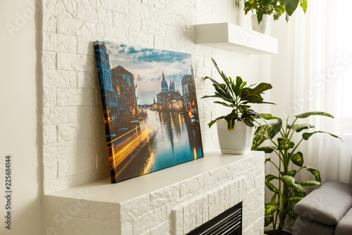 Fototapeta Modern lliving room interior with venice, italy, canvas on the wall - it is my p