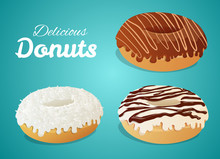 Set Of Three Donuts With Different Icing, Chocolate Striped, Coconut, White Striped. Vector Isolated On Blue Background.