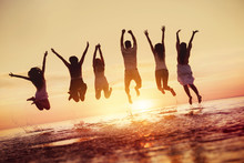 Group Of Happy Friends Jumps I...