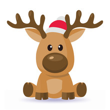 Cartoon Christmas Deer Vector In Red Hat