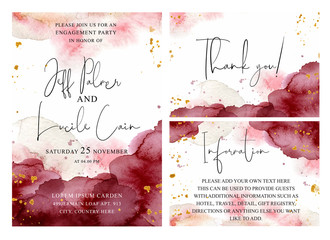 Burgundy, pink and gold wedding set with  hand drawn watercolor background. Includes Invintation, information and thank you cards templates. Vector