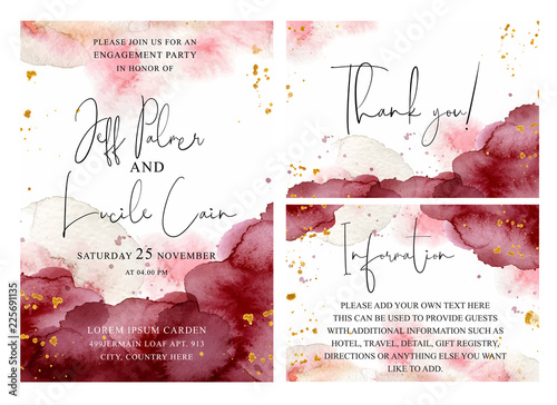 Obraz Burgundy, pink and gold wedding set with  hand drawn watercolor background. Includes Invintation, information and thank you cards templates. Vector - fototapety do salonu