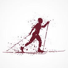 Ski De Fond-Tâches Rouges