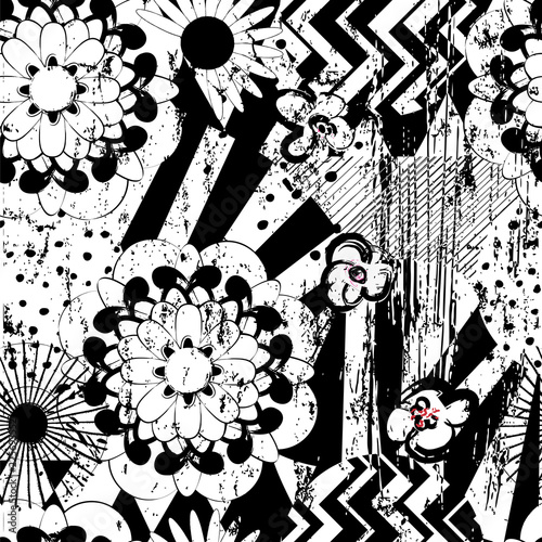seamless abstract flower pattern background, retro/vintage style, with circles, stripes,bloom, strokes and splashes, black and white