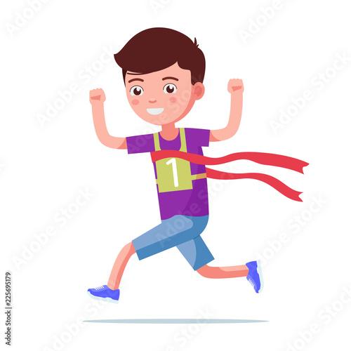 Tuinposter Vlinders Cartoon boy running and winning a marathon