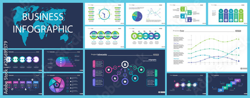 Obraz Business inforgraphic design set for management concept. Can be used for business project, annual report, web design. Process chart, option chart, scatter plot, pie chart, flowchart, donut diagram - fototapety do salonu