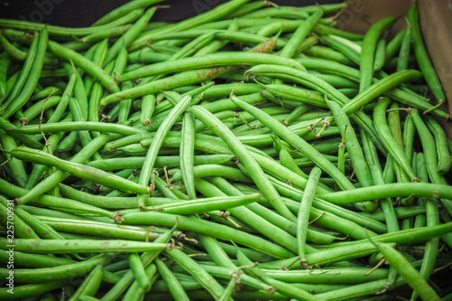 Fresh green beans on display at Broadway Market in Hackney, East London Canvas Print