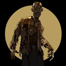 Cartoon Man Scary Zombie On The Background Of A Circle