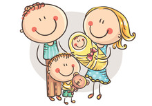 Happy Family With Two Children...