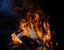 Burning Wooden Logs In Fire, Campfire On Black