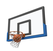 3d Rendering Of A Basketball Ball Falling Inside A Basket Attached To A Transparent Backboard.