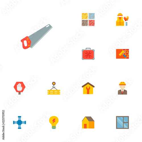 Set Of Industrial Icons Flat Style Symbols With Hand Saw House