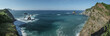 Tropical islands and beach panoramic in Melaque Mexico for holiday vacation background concept
