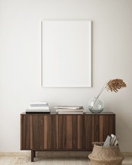 Obraz na Plexi mock up poster frame in hipster interior background, living room, Scandinavian style, 3D render, 3D illustration