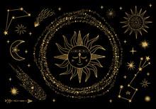 Vector Sun, Moon, Comet, Zodiac Sign. Golden Sky Illustration. Tattoo Design.