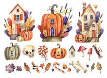 Watercolor Set Of Halloween Elements. Bright Hand-drawn Elements, Pumpkins, Houses, Mushrooms, Bones, Skulls, Stars, Candies.