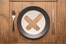Cross Mark On Plate With Fork ...