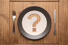 Question Mark On Plate With Fo...
