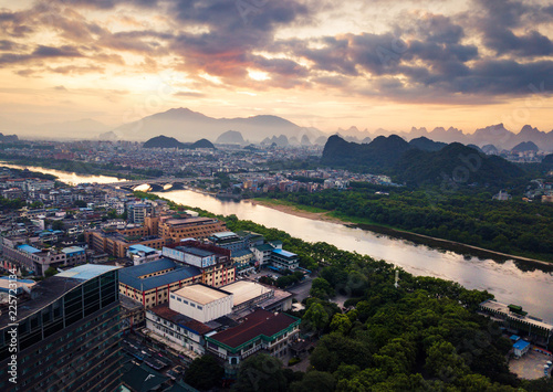 Foto op Canvas Guilin Sunrise over Li river in Guilin, China aerial view