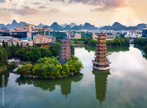 Poster Guilin Aerial view of Guilin park with twin pagodas in China