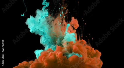 Acrylic colors in water. Ink blot.