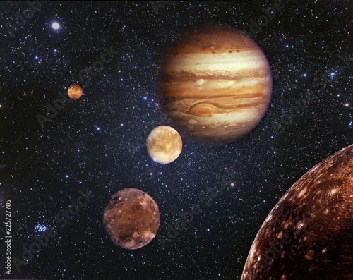 Planet Jupiter and his satellites in outer space. Jupiter is the fifth planet from the Sun and the largest in the Solar System. Elements of this image furnished by NASA