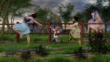 A Woman Dancing Followed By Two Children And Watched By A Horse Out In A Field
