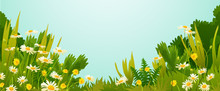 Dandelions And Daisies Flowers With Grass And Bushes Isolated On Blue Sky Background Vector Illustration.