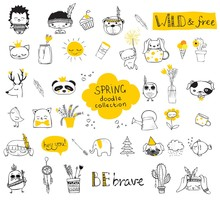 Spring Doodle Collection. Simp...