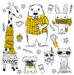 Vector set of cute doodle hipster giraffe, bear, dog, cat, rabbit and tribal owl. Perfect for greeting card design, t-shirt print and kid's poster