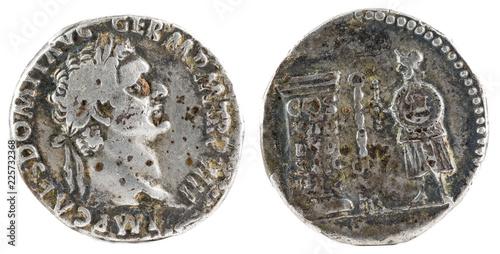 Valokuva  Ancient Roman silver denarius coin of Emperor Domitian.