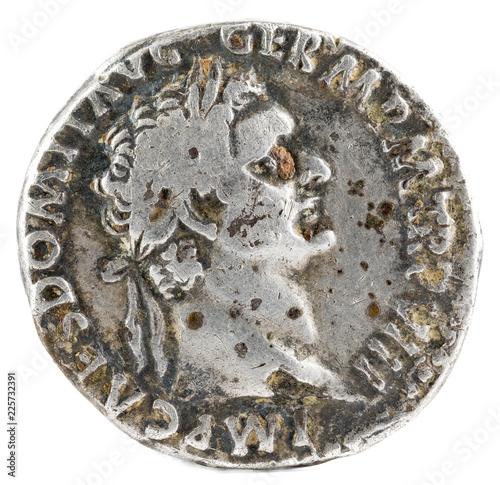 Valokuva  Ancient Roman silver denarius coin of Emperor Domitian. Obverse.