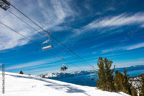 Lake Tahoe from Heavenly Resort - skiing - looking at ski lift with lake in back Tapéta, Fotótapéta