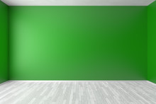 Empty Green Room Wall With White Floor