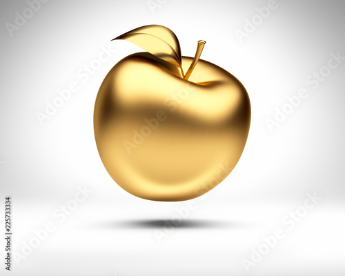 Leinwand Poster Goldener Apfel vor Weiß