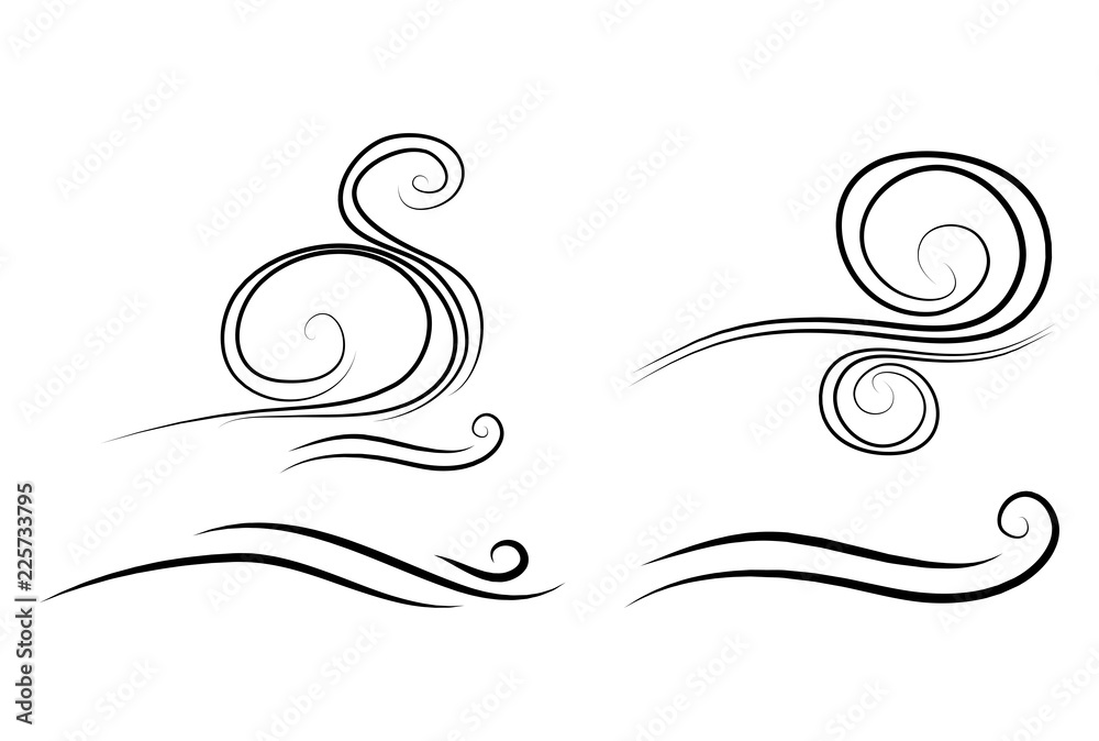 Fototapety, obrazy: wind doodle blow, gust design isolated on white background