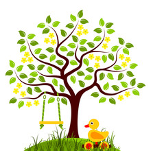 Flowering Tree With Swing And Duck Pull Toy