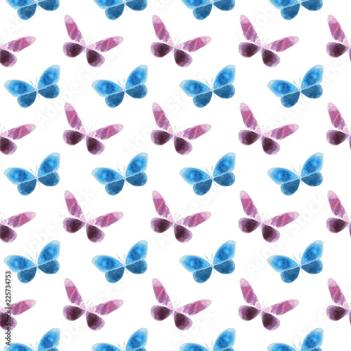 Watercolor Colorful Butterflies Pattern Isolated On White