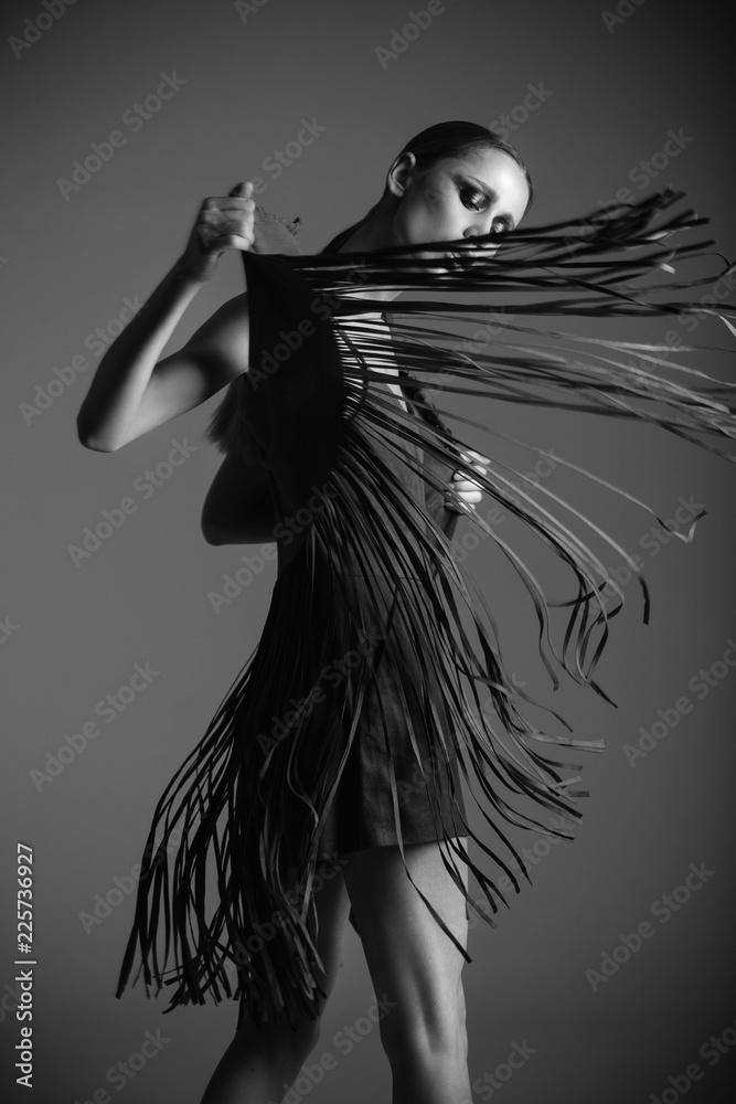 Fototapety, obrazy: Black and white fashion portrait