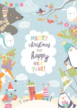 Cute Christmas Frame With Funny Cartoon Animals