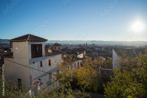 Panoramic View onto Granada from Old Moorish Quarter Albaicín, Spain